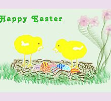 Easter Card Two Chicks by Rosalie Scanlon