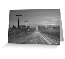 Back Country Road Sunrise BW Greeting Card