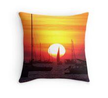 Sunset Sailing Boat Throw Pillow