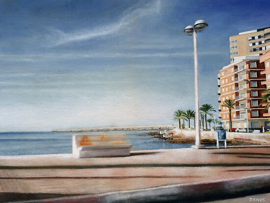 Spanish Coast Oil on Canvas by daverives