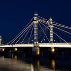 Albert Bridge London At Night by DavidHornchurch