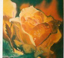 Red Orange Rose by geri jones