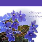 Happy Easter Card - African Violets by MotherNature