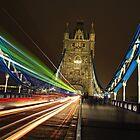 Light Trails on Tower Bridge, London by Giovanna Tucker
