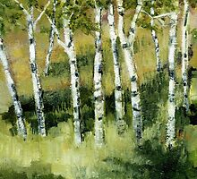 Birches on a Hillside by Michelle Calkins