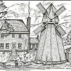 Old New England Windmill Scene by charlesadams