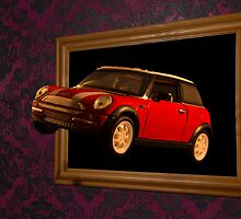 Flying Minii Cooper appearing to fly out of a frame  by Peter Elliott