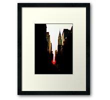 Manhattanhenge Sunset and the Chrysler Building Framed Print