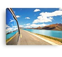 Driving next to lake along Friendship Highway, Tibet Canvas Print