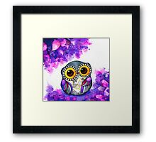 Owl in Purple Blossoms Framed Print