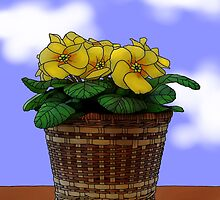 Yellow Primroses by LynndeeLeBeau