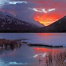 Red Sky over Rundle by Michael Collier