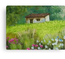 Peaceful House on Meadow Canvas Print