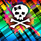 Rainbow Plaid Skull by Roseanne Jones