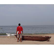 The Boat, The Fisherman And The Ocean - El Barco, El Pescadero Y El Oceano Photographic Print
