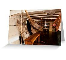Hammocks, Below Decks on a Sailing Ship. Greeting Card