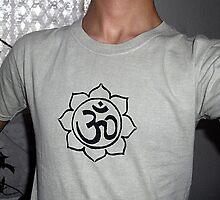 Om inside lotus t-shirt by Leoncio