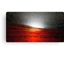Red Field Moonlight Oil Painting Canvas Print