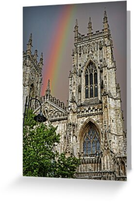 Rainbow over York Minster. by Colin Metcalf