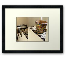 """Pots on Tiers on Stairs"" Framed Print"