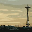 Space Needle Sunset by Laurel  Coleman