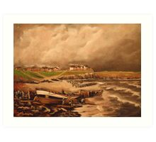 Cullercoats, England from an Engraving 1880 Art Print