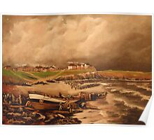 Cullercoats, England from an Engraving 1880 Poster
