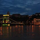 The Chain Bridge. The Danube River in Budapest at night. Number 1 by Anatoly Lerner