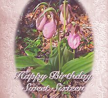 Sweet Sixteen Birthday Card - Pink Ladys Slipper Orchid by MotherNature
