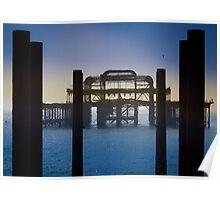 Blackened Pier, West Pier, Brighton Poster