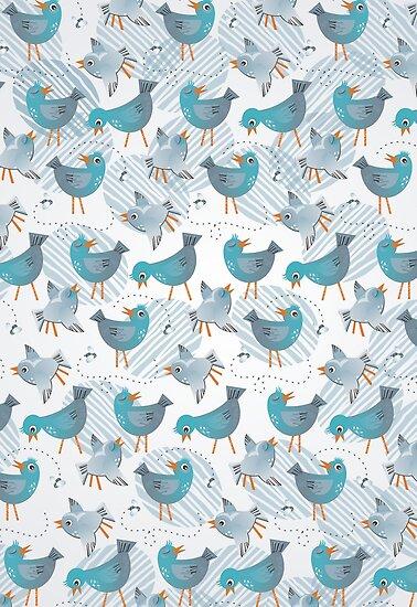 blue birds on light gray by demonique