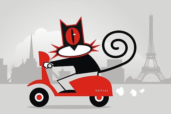Hellcat loves his Vespa by Matt Mawson