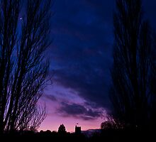 Sunset, moon rise - Cosgrove, Northamptonshire by David Isaacson