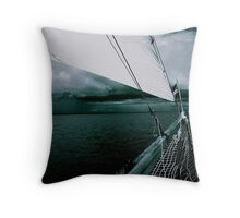 Sailing into a Storm Black and White Throw Pillow