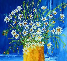 Flowers by the blue wall (palette knife) by maggie326