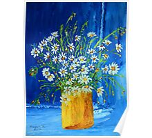 Flowers by the blue wall (palette knife) Poster
