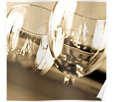 Macro Shot of Two Wine Glasses Poster