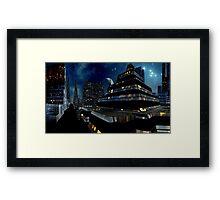 Reflections of Night - Metropolis Moon Framed Print