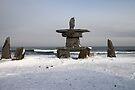 Inuit Inukshuk on Hudson Bay by Carole-Anne