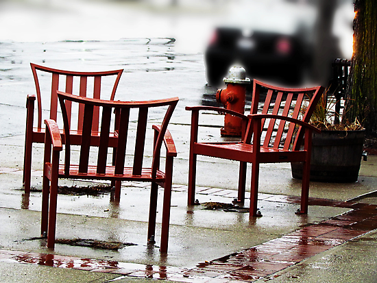 Chairs Arranged in the Rain by Nevermind the Camera Photography