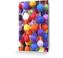COLOURED COTTON BOBBLES NOW AVAILABLE ON THROW PILLOWS Greeting Card