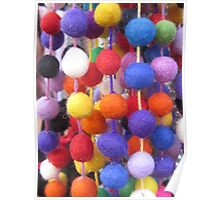 COLOURED COTTON BOBBLES NOW AVAILABLE ON THROW PILLOWS Poster