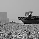 Dungeness Hulk and Power Station - monochrome by physiognomic