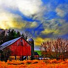 Barn And Sunset by EBArt