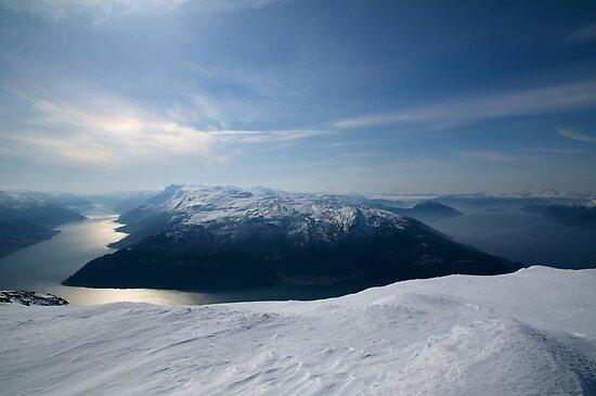View from Oksen - Sørfjorden and Hardangerfjorden by Algot Kristoffer Peterson
