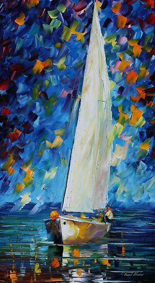 WHITE SAIL - LEONID AFREMOV by Leonid  Afremov