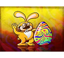 Easter Bunny Proud of his Big Decorated Egg Photographic Print
