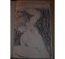 Drawing: Narcissus/1 of 4 -(260312)- black ink/A5 sketchbook/digital photo Photographic Print
