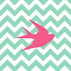 Pink Bird Silhouette on Chevron Stripes  by runninragged