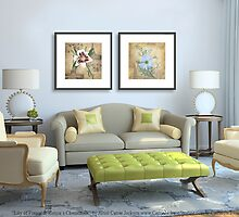"""Paintings """"Lily of France & Russia's Chamomile"""" Displayed in Setting by Carrie Jackson"""